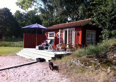 Veranda utanför bastun på Elfsala Gäästgård
